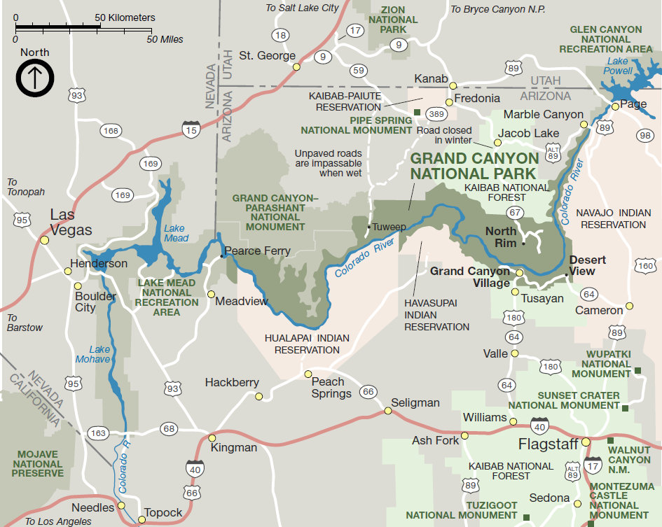 Grand Canyon National Park Sights Attractions - Grand canyon tourist map