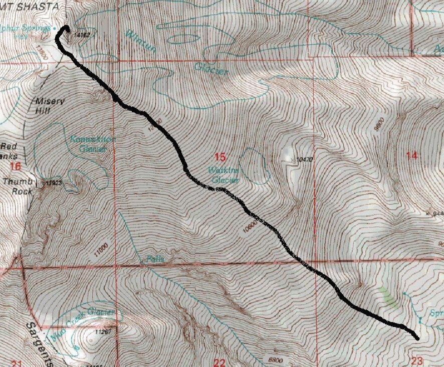 mt shasta climbing map