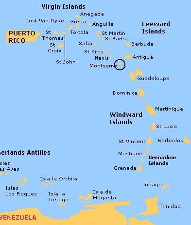 Montserrat Helicopter Tour Antigua Shore Excursion - Montserrat map