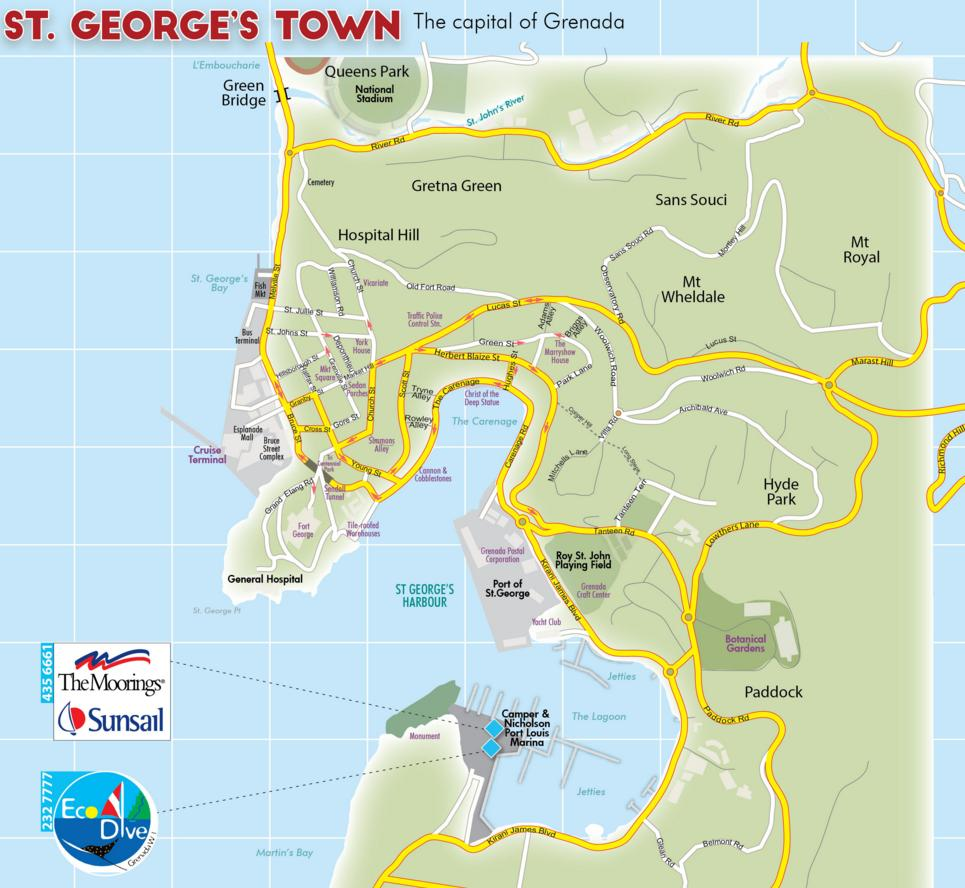 Grenada St Georges Town Sights Attractions - Map of grenada world