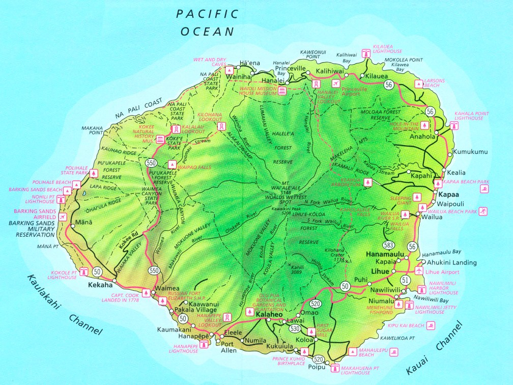 Kauai Hawaii Travel – Kauai Tourist Attractions Map