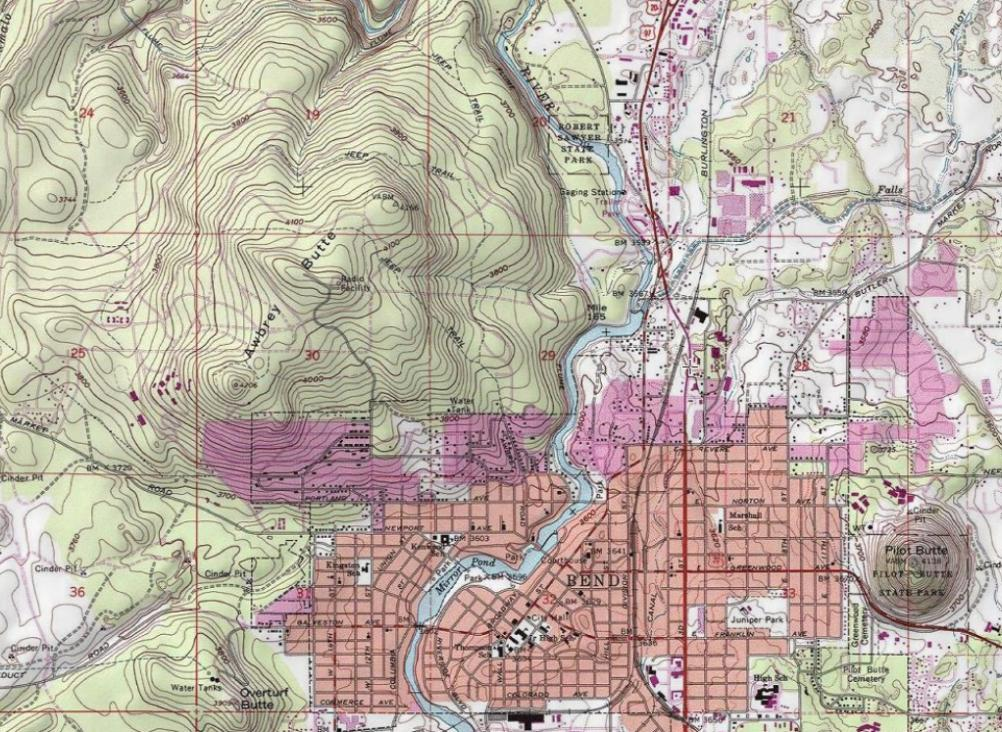 Bend Oregon Elevation Map Oregon Map - Topographical map of oregon