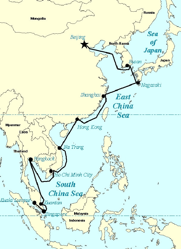 Nagasaki On World Map.Cruise To Hong Kong Shanghai Busan Nagasaki