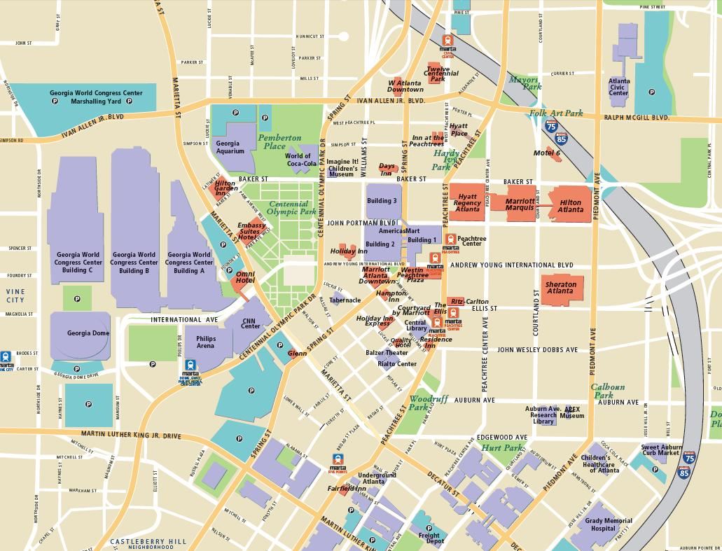 Downtown Atlanta Map Related Keywords and Suggestions Downtown – Tourist Attractions Map In Atlanta