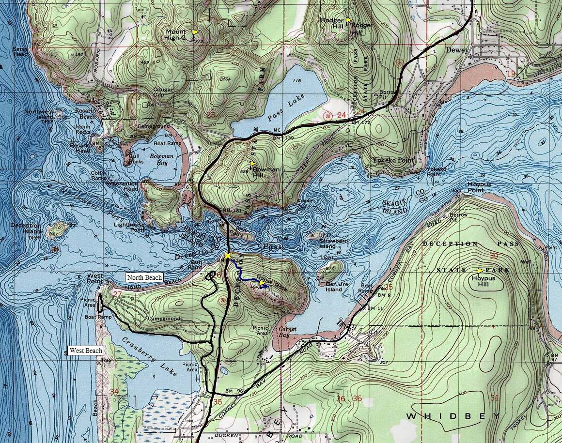 Deception Pass State Park Visitor Information - Topo map of washington state