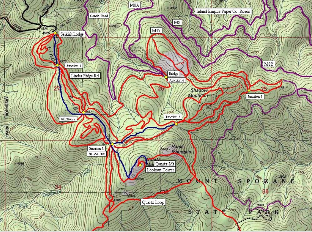 Spokane Elevation Map.Quartz Mountain Lookout Mount Spokane State Park