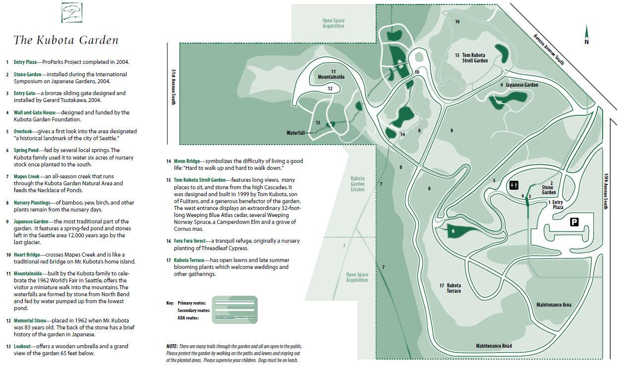 kubota garden map - Kubota Garden